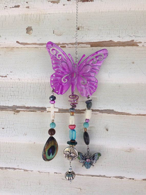 Butterfly garden decor mobile windchime or girls bedroom decor, Purple butterfly porch decor, Patio decor, Patio Art, Outdoor decoration