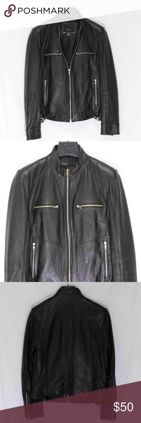 Mossimo Genuine Leather Motorcycle Jacket  size M Genuine Leather Motorcycle style Jacket Color: Black Size: M Condition: Pre-Owned with no signs of wear Mossimo Supply Co. Jackets & Coats