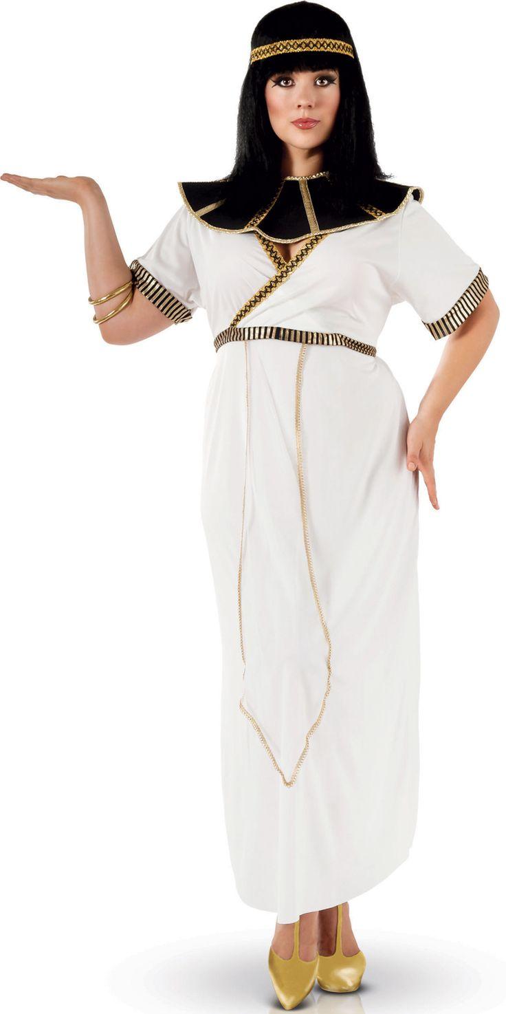 Disfraz Egipcia mujer: Este disfraz de egipcia para mujer incluye vestido, diadema y cuello (pulseras y zapatos no incluidos). El vestido es largo y blanco. El escote tiene forma de V. La cintura tiene una banda dorada...