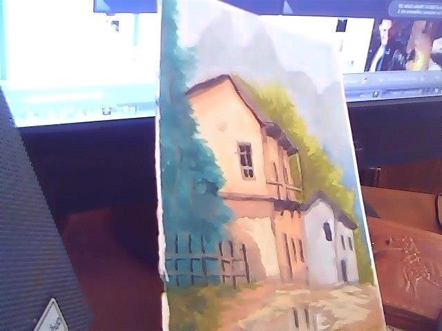 paisaje en acuarela, copia de un cuadro en oleo