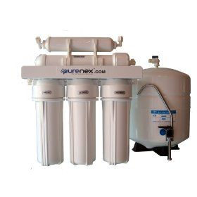 Purenex RO-5-50 5 Stage Reverse Osmosis Water Filter System with Storage Tank Removes Fluoride  Reviews: http://www.reverseosmosisguides.com/best-5-stage-reverse-osmosis-system-reviews/  This RO system is highly efficient and produces about 50 gallons of water per day, which is much better than many other models with only 25 GPM limit. Its PSI is not the only reason why it is popular. Just like other 5 stage purification systems, Purenex removes 99% of debris from water to make it pure.