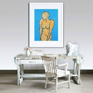 """Burlesque Blue"" - original figurative pastel drawing by Sabina D'Antonio"