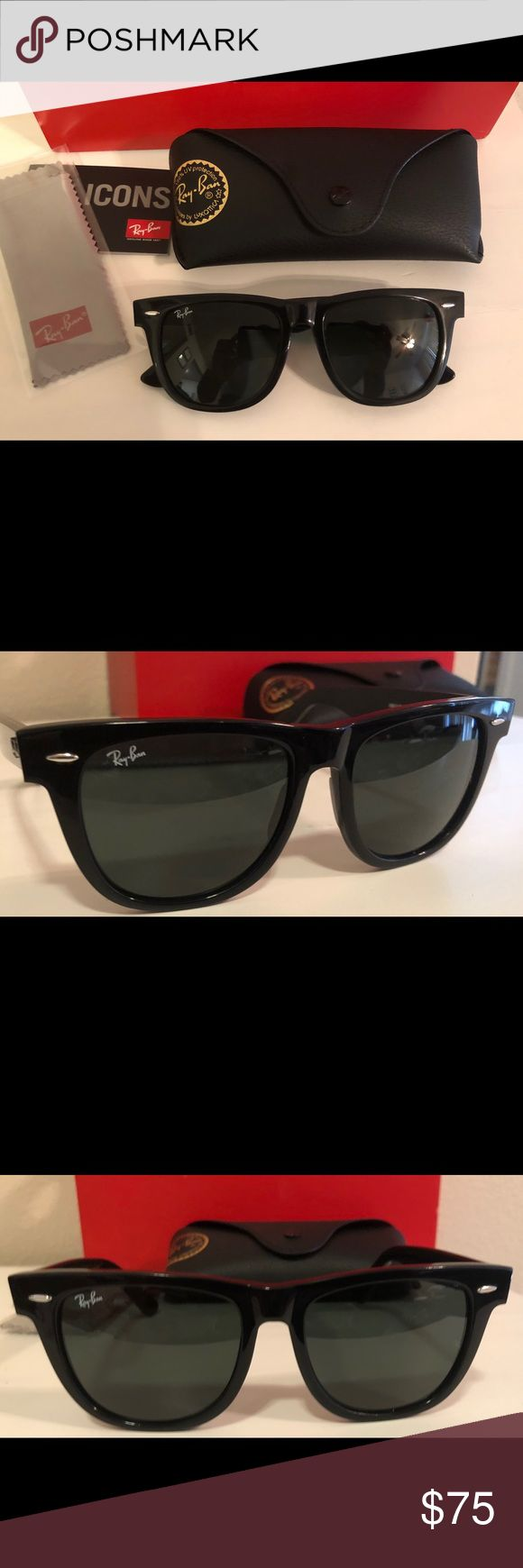 Ray-Ban Wayfarers RB2140 All Black Ray-Ban Wayfarers, size 54mm Large   Glasses are unisex. 100% Authentic and brand new. Ray-Ban Accessories Sunglasses