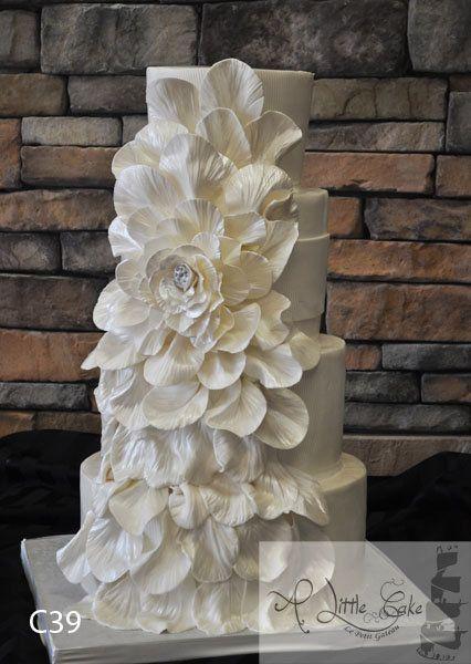 Fondant Wedding Cake With An Overflowing Flower - by alittlecake @ CakesDecor.com - cake decorating website