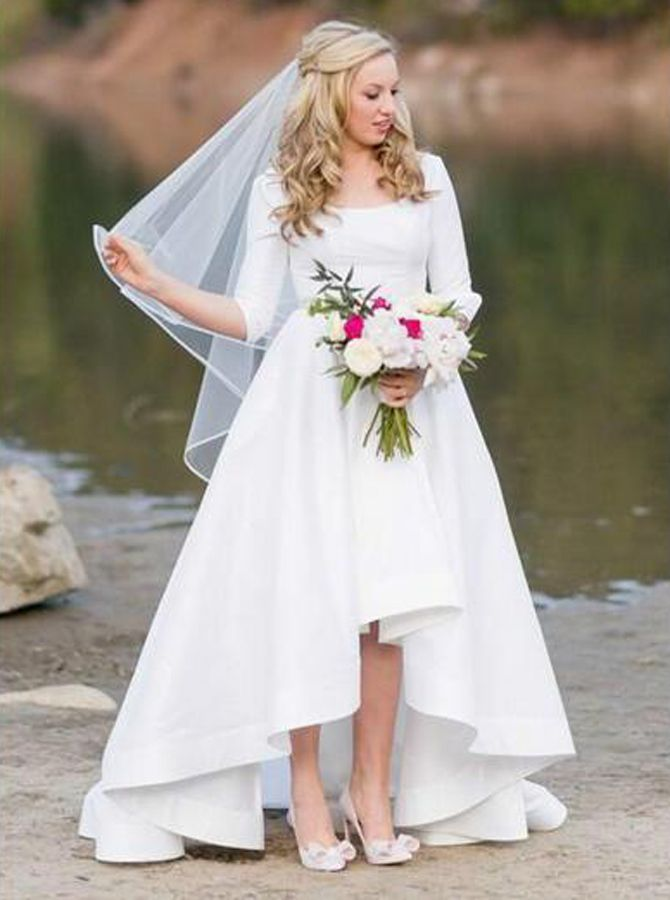 2661c6b74d3 White High Low Wedding Dresses with Sleeves