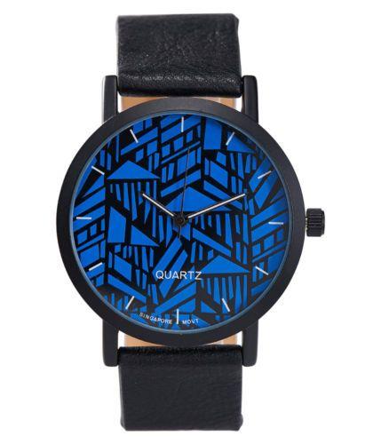 aeropostale mens blue flower analog faux leather