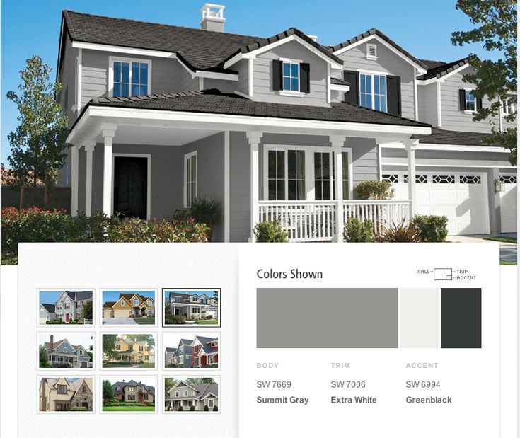 Love the colors! Grey Exterior Paint Color Pretty much perfect. Dark ...