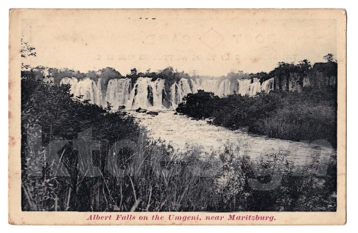 Albert Falls on the Umgeni, near Maritzburg, South Africa. Vintage photo postcard.