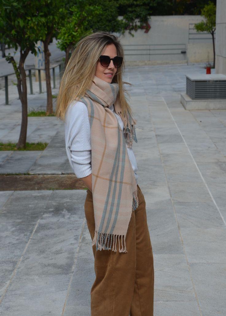 scarf, brown pants, winter look