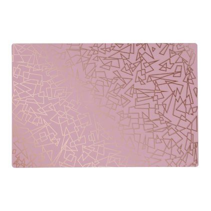 Elegant stylish rose gold geometric pattern grey placemat  $14.50  by Naughty_Cat  - cyo customize personalize unique diy