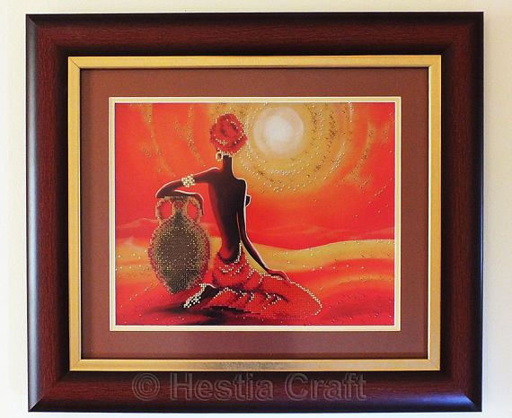 Bring tranquility and warmth to your room with this colorful bead embroidery. 4,140 tiny beads in shades of gold, orange, red, brown were individually hand sewn to silk cloth  This unique wall decor comes with mahogany color frame (shown in pictures), covering glass and is ready to be hung on a wall.  This bead embroidery can be a perfect gift for a wedding or wedding anniversary.  Dimensions: 20.5 (W) x 18 (H)  Handmade in my pet-free and smoke-free studio. Please have a look at other Home…