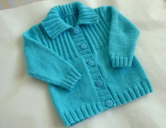Aqua baby cardigan with collar girl or boy knit sweater 6 to