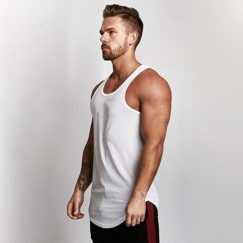 5c143557e79 2018 Clothes Golds Solid Mesh Tank Top Men Sleeveless Shirt Bodybuilding  Stringer Fitness Mens Muscle Singlet Workout Vest