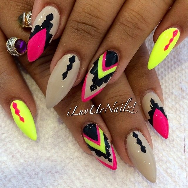 Summer stiletto nails☻I would never do these myself, but they look so cool!