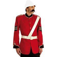 Adults Mens Medium Red Military Zulu War Soldier Army Fancy Dress Costume