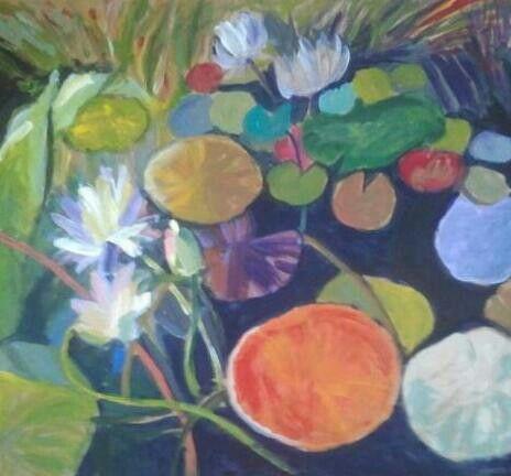 Mihaela Dulea, Waterlilies, Acrylic on cardboard, 48/43, 2014