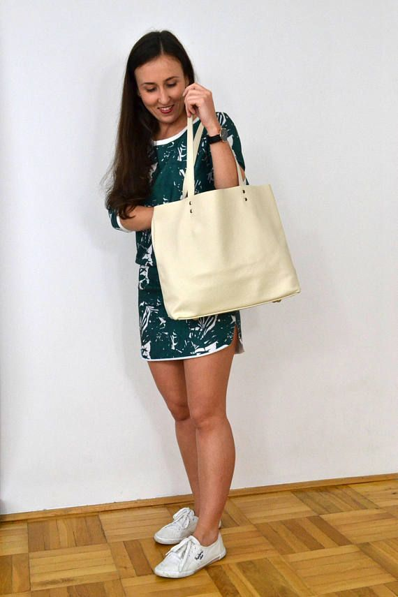 Large LEATHER TOTE Bag with zipper Beige Leather tote Beige