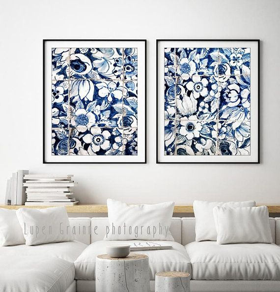 Blue And White Wall Art Lisbon Portuguese Tiles Print Homedecor Blue Affiliate White Wall Art White Wall Decor Framed Floral Prints