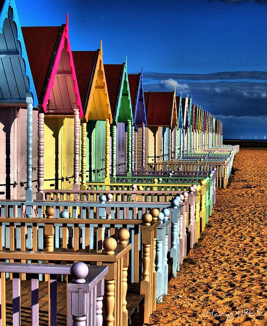 Colourful Beach Huts ,West Mersea Beach, Essex, UK