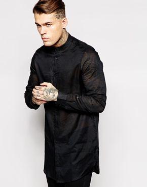 ASOS Smart Shirt In Longline With Sheer Fabric And Grandad Collar