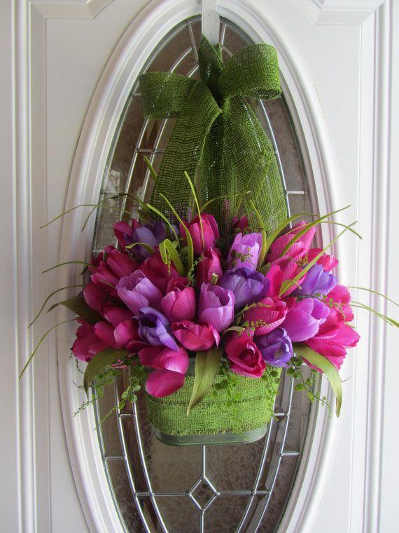 Tulip Wreath - Spring Wreath - Tulip Door Pocket - Easter Wreath. $63.95, via Etsy.