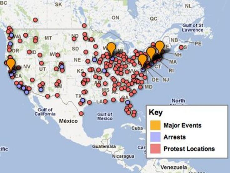 Best Other Revolutions Rebellions Revolts In History Maps - Occupy wall street us map