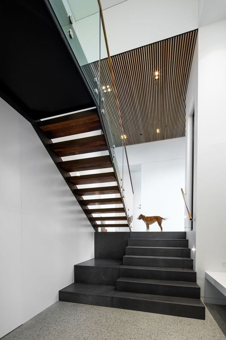 Modern architecture, floating staircase, batten timber.  By Collins Caddaye Architects, Canberra.  Photographed by Stefan Postles, Chalk Studio.