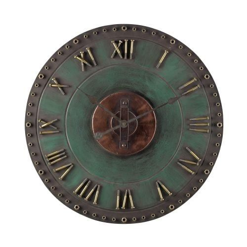 Sterling Industries 128-1004 24.5 Height Metal (Grey) Roman Numeral Outdoor Wall Clock with Marilla Verde / Gold Finish