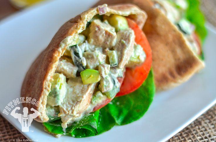 Chicken Avocado Salad Stuffed Pita #fitmencook fitmencook.com