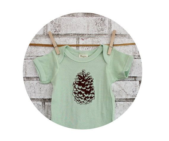 Pine Cone Baby Onepiece Organic Cotton Infant by CausticThreads