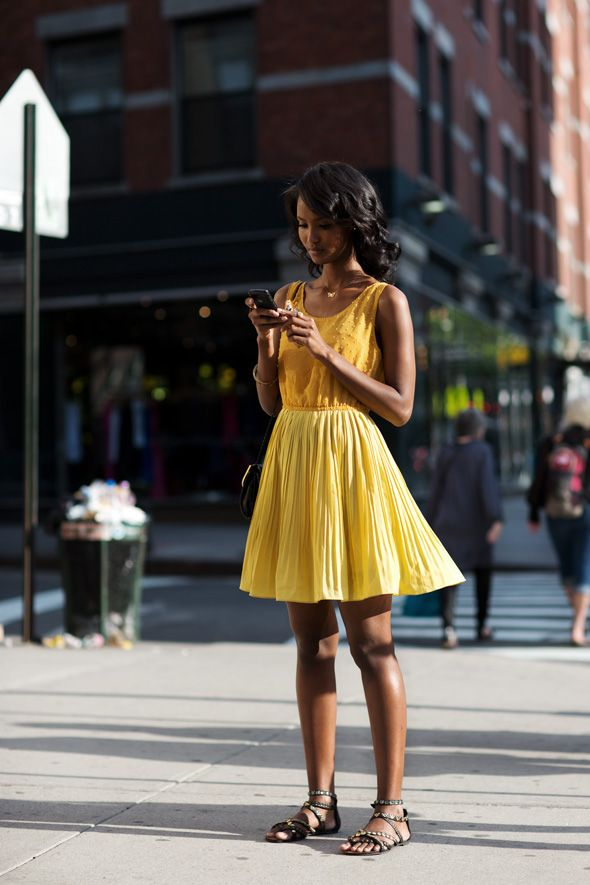 On the Street…..Ninth Ave., New York: Summer Dresses, Thesartorialist, Fashion, Yellow Dresses, Street Style, Yellowdress, The Sartorialist, New York, Yellow Sundress