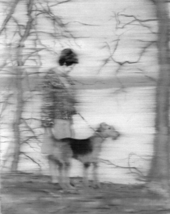 Gerhard Richter: Frau mit Hund am See, 1967