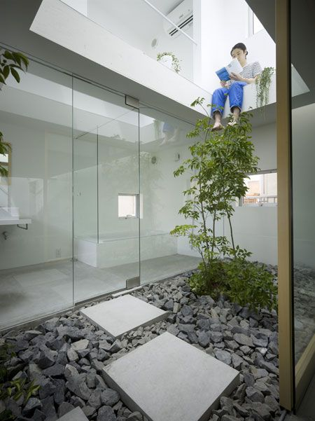 This Japanese house features a room dedicated to plants