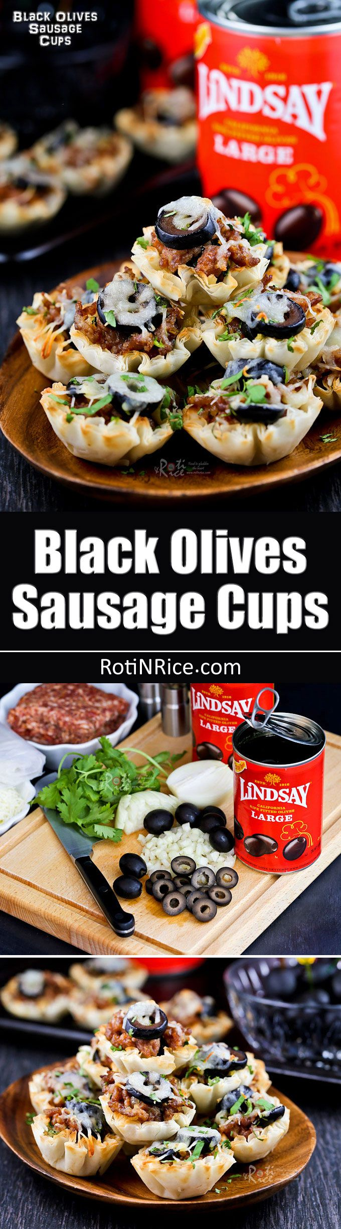 These tasty Black Olives Sausage Cups are the perfect appetizers for Game Day or any social gathering. Very quick and easy to prepare. #TeamLindsay #GameDayMoment #ad #sponsored @lindsayolives | RotiNRice.com