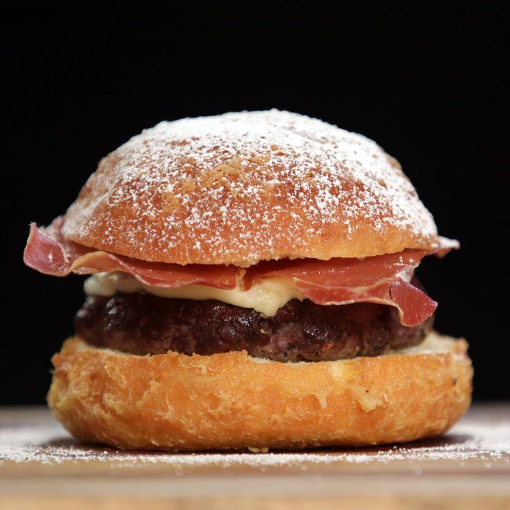 Monte Cristo Burger —deep-fried brioche bun + umami-rich burger patty + prosciutto chips + gruyère fondue