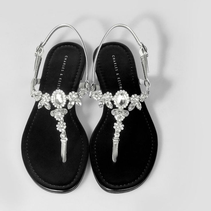 Bejewelled Flat Sandals - Silver - Flats - Shoes | CHARLES & KEITH