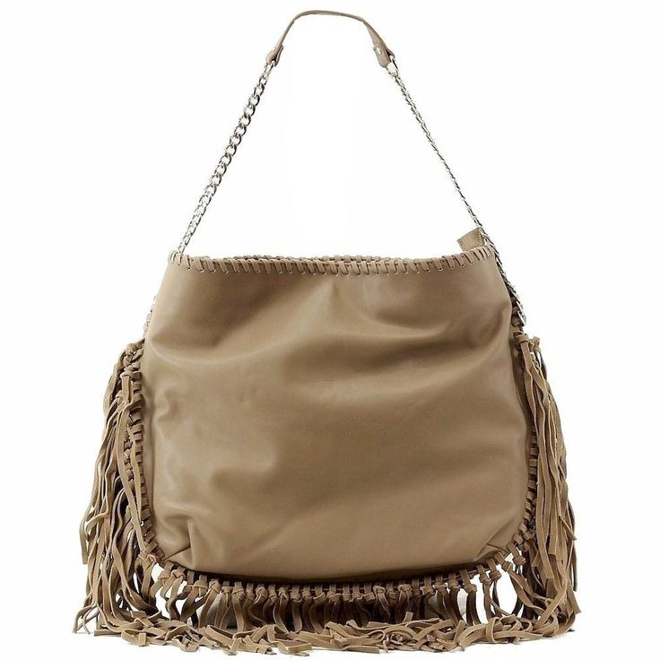 Steve Madden Camel Leather Fringe BMadly Hobo Purse Tote Handbag Shoulder Bag #SteveMadden #ShoulderBag