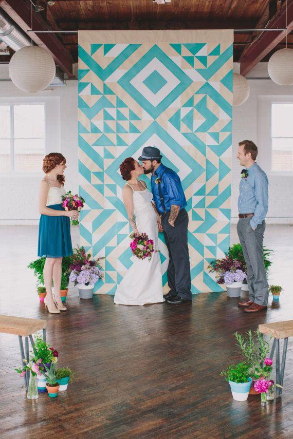 Geometric Ceremony Backdrop por SarahParkDesigns en Etsy