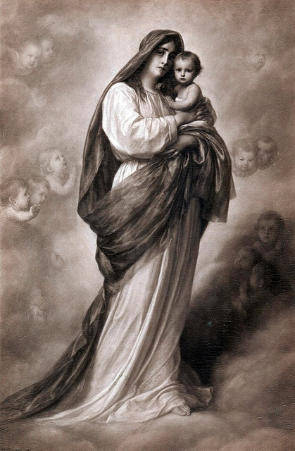 nice vintage picture of Blessed Mother Mary & her beloved son Jesus