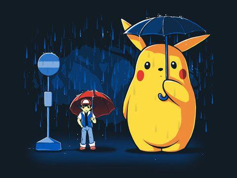 """Rainy Day"" My Neighbor Totoro / Pokemon mashup | T-Shirts ..."