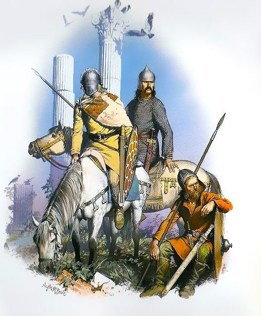 """Three Germanic mercenaries of the 5th century AD, amid the ruins of the Roman world which they first served, and later looted and destroyed"", Angus McBride"