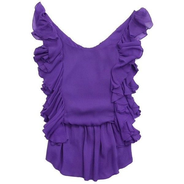 Pre-owned Alice & Olivia Purple Silk Ruffle Sleeveless Blouse (€63) ❤ liked on Polyvore featuring tops, blouses, purple, silk top, silk ruffle blouse, frilly blouse, sleeveless blouse and purple ruffle blouse