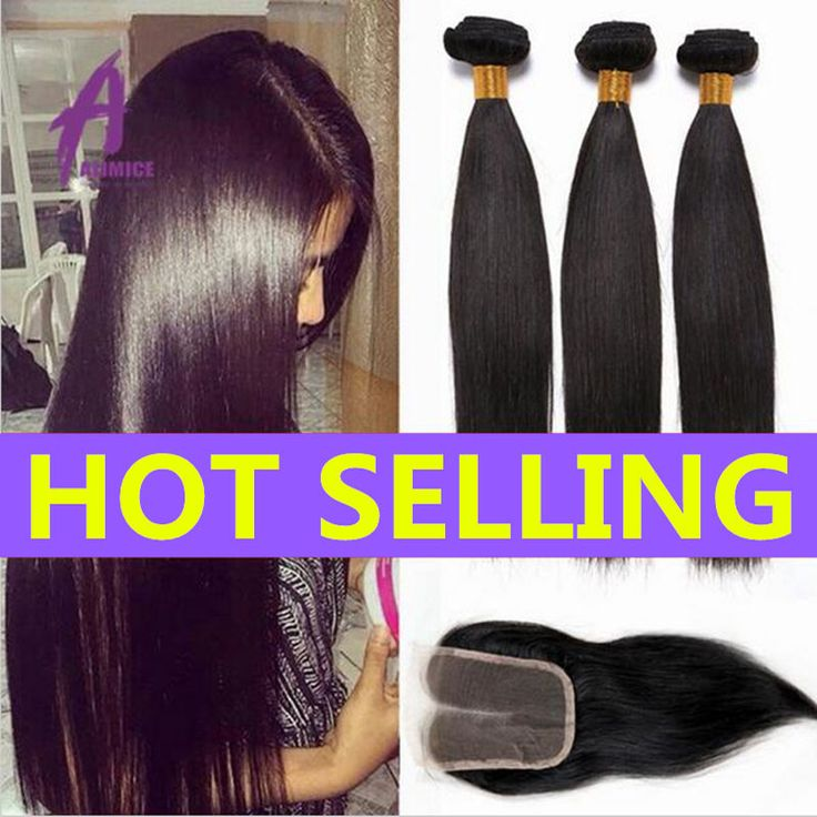 8A Indian Straight Hair With Closure Raw Indian Virgin Hair Weave 3 Bundles With Closure Human Hair Bundles With Lace Closures * Click the VISIT button for detailed description