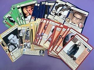 These are family history trading cards... but could be done for any subject such as Social Studies w/ the Explorers - picture/name on front, Birth/Death date and 5 facts on back