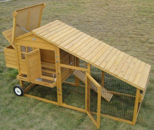 Nest box rabbit hutches and hen house on pinterest for Portable chicken coop on wheels