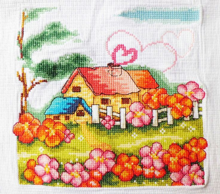 New Completed/Finished Cross Stitch Gardon House Cartoon Image Size:8.2*8.2inch