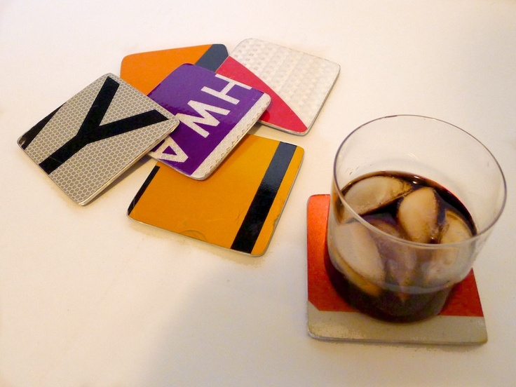 cool coasters upcycled from old road signs