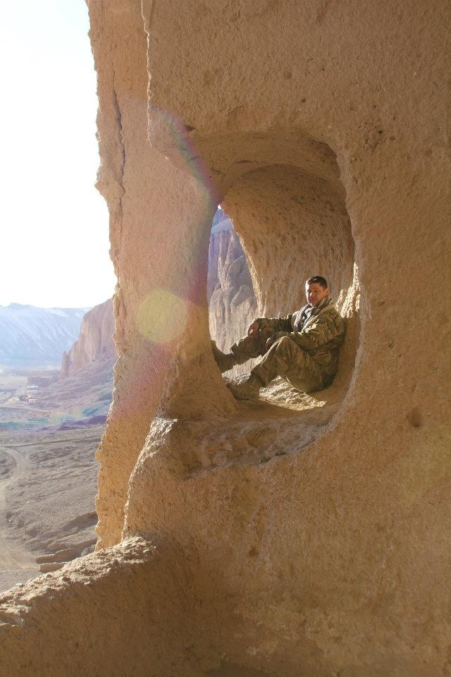 Enjoying the view from the temple nooks above the giant Buddah remnants Bamiyan Province, Afghanistan.