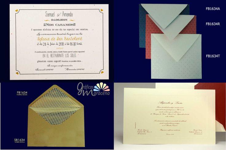 Invitación de boda con sobre kraft y forros con lunares vintage o tonos dorados.