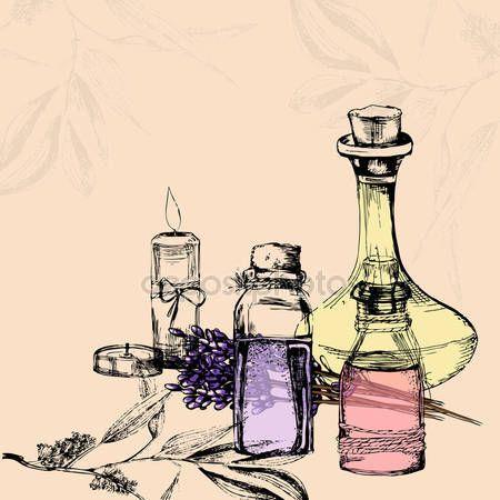 Vektorové ilustrace lahví s esenciální oleje, svíčky, umývat — Stocková ilustrace #106736064